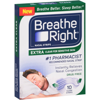Breathe Right® Extra Clear Nasal Strips Tan 10 ct Box