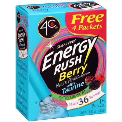 4C® Totally Light 2 Go Energy Rush Berry Drink Mix 18 ct Packets
