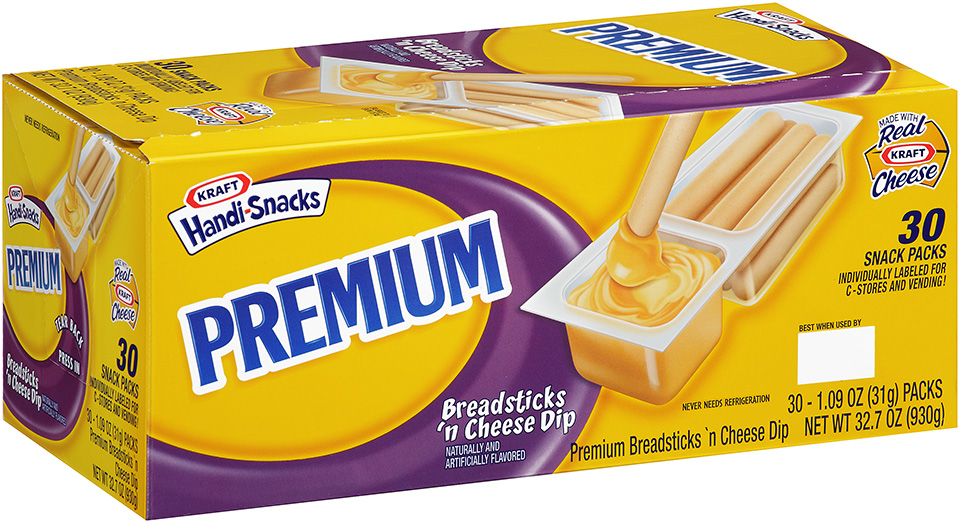 Kraft Handi-Snacks Premium Breadsticks 'n Cheese Dip 30-1.09 oz. Snack Packs