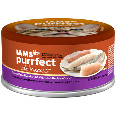 Iams® Purrfect Delicacies™ Premier Flaked Mackerel & Whitefish Recipe in Sauce Cat Food 2.47 oz. Can