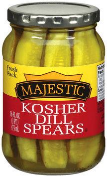 Majestic Dill Spears Kosher Fresh Pack Pickles 16 Oz Jar