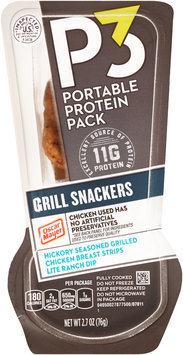 P3 Grill Snackers Hickory Seasoned Grilled Chicken Breast Strips & Lite Ranch Dip Portable Protein Pack 2.7 oz. Tray