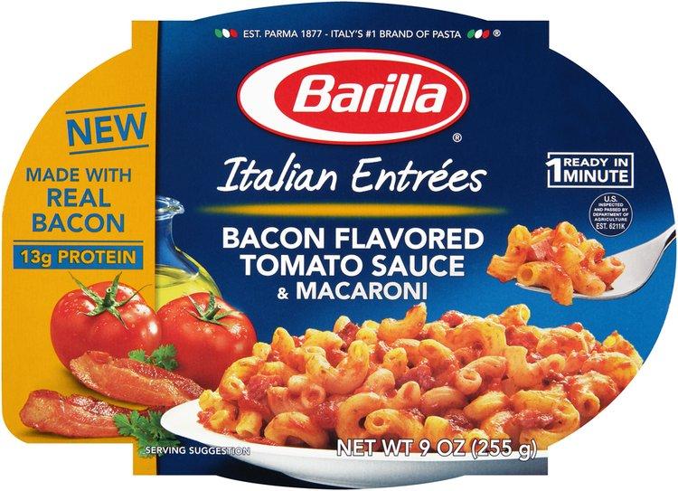 Barilla® Italian Entrees Bacon Flavored Tomato Sauce & Macaroni Pasta 9 oz. Tray