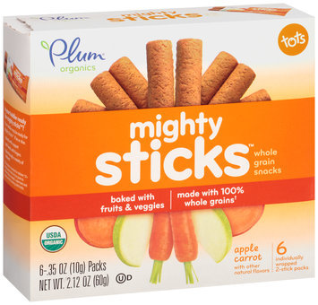 Plum® Organics Tots Mighty Sticks™ Apple Carrot Whole Grain Snacks 6-.35 oz. Box