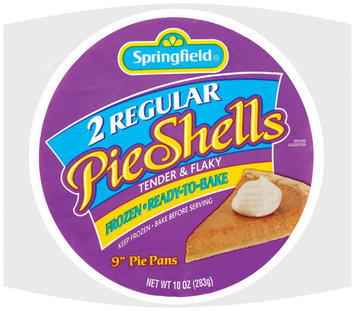 Springfield Regular Frozen Ready to Bake 9 Inch Pie Shells 2 Ct Bag