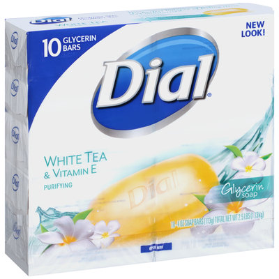 Dial® White Tea & Vitamin E Purifying Glycerin Soap 10-4 oz. Bars