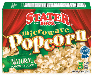 Stater Bros. Natural 3 Ct Microwave Popcorn 10.5 Oz Box