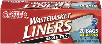 Stater Bros. Bags & Ties 8 Gal Wastebasket Liners 20 Ct Box