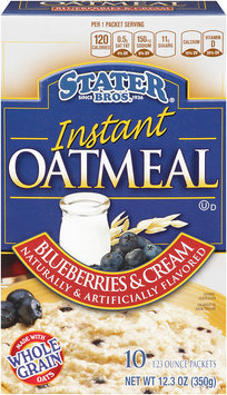 Stater bros® Blueberries & Cream Instant Oatmeal 1