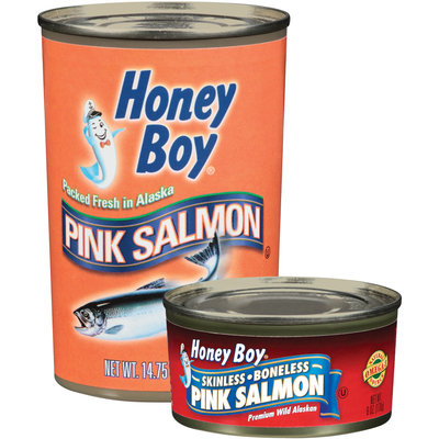 Honey Boy Pink Group of 2 6 Oz & 14.75 Oz Cans Salmon