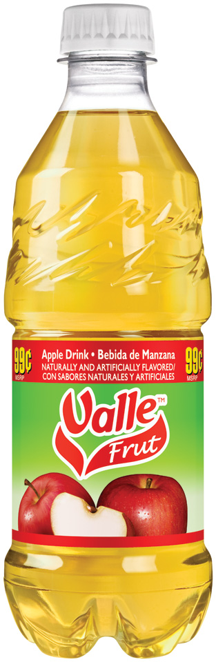 Valle Frut Apple Fruit Drink 20 fl. oz. Bottle