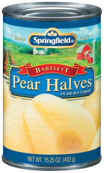 Springfield Bartlett In Heavy Syrup Pear Halves 15.25 Oz Can