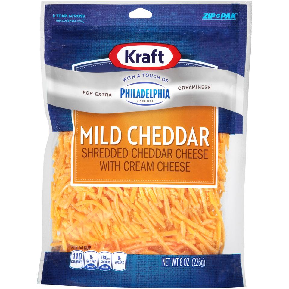Kraft Shredded Mild Cheddar Cheese with a Touch of Philadelphia 8 oz. ZIP-PAK®