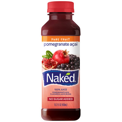 Naked Juice Pomegranate Acai 100% Juice 15.2 Oz Plastic Bottle