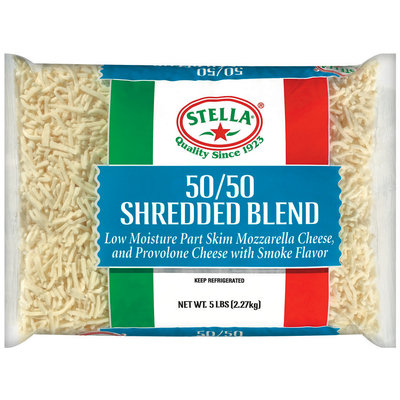 Stella® 50/50 Blend Mozzarella & Smoked Provolone Shredded Cheese 5 Lb Bag
