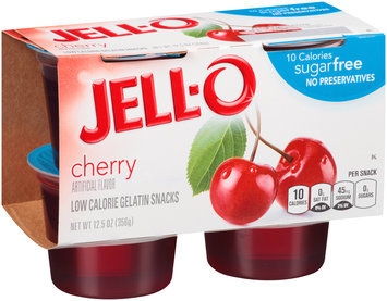 Jell-O Sugar Free Cherry Low Calorie Gelatin Snacks 4 ct Cups