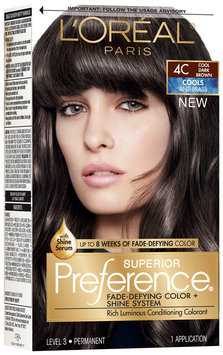 L'Oréal® Paris Superior Preference® Cools Anti-Brass 4C Cool Dark Brown Hair Color 1 Kit Box