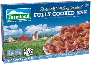 Farmland® Naturally Hickory Smoked Fully Cooked Classic Cut Bacon 2.1 oz. Package
