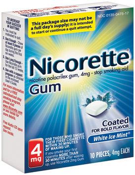 Nicorette® White Ice Mint® Gum Stop Smoking Aid 4mg 10 ct Box