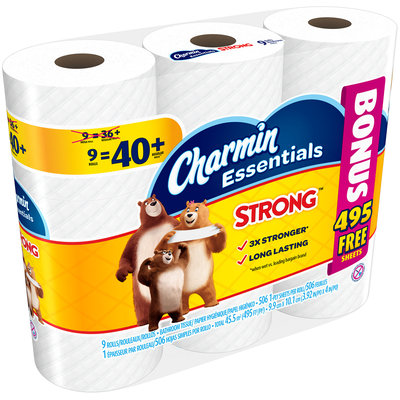 Essentials Strong Charmin Essentials Strong Toilet Paper 9 Mega Bonus Rolls