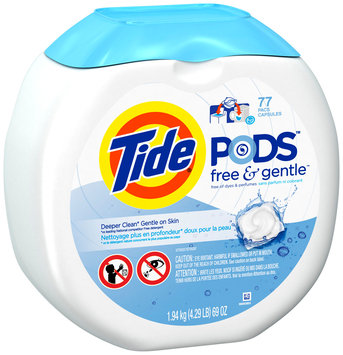 Sensitive Tide Pods HE Laundry Detergent, Free & Gentle, 77 Count, 69 oz. Container