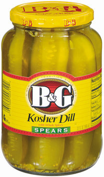 B&G Kosher Dill Spears W/Whole Spices Pickles 32 Oz Jar