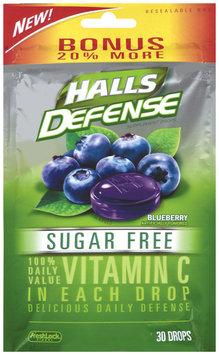 Halls Defense® Blueberry Sugar Free Vitamin C Supplement Drops 30 ct Bag