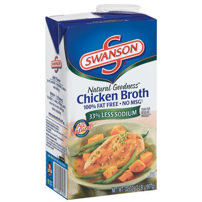 Swanson Chicken Natural Goodness 100% Fat Free No Msg Rts Broth 32 Oz Aseptic Pk