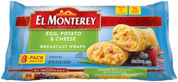 El Monterey™ Egg, Potato & Cheese Breakfast Wraps 8 ct Bag