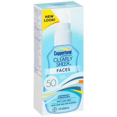 Coppertone® Clearly Sheer® Faces Broad Spectrum SPF 50 Sunscreen Lotion 2 fl. oz. Box