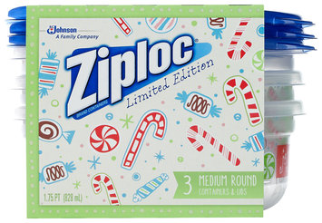 Ziploc® One Press Seal Holiday Print Medium Round Containers 3 ct Sleeve