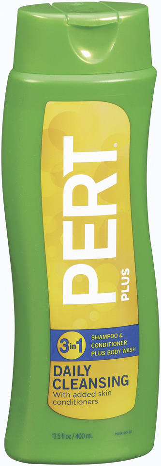 Pert Plus Daily Cleansing 3 In 1 Shampoo + Conditioner Plus Body Wash 13.5 Oz Squeeze Bottle