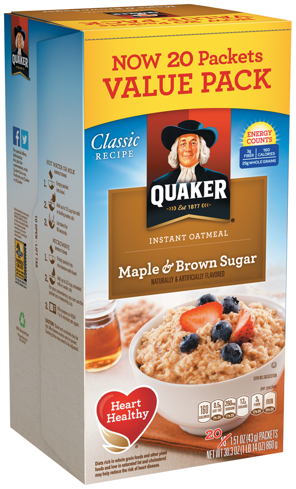 Quaker® Maple & Brown Sugar Instant Oatmeal 20-1.51 oz. Packets