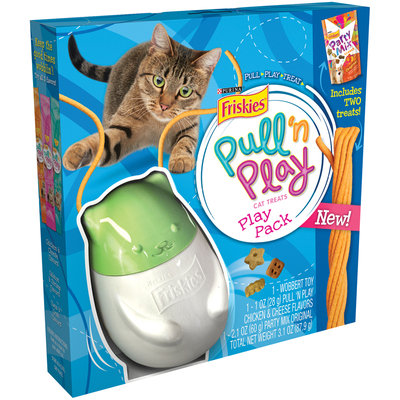 Purina Friskies Pull 'n Play with Party Mix Cat Treats and Toy Play Pack Box