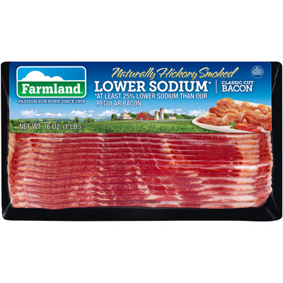 Farmland® Naturally Hickory Smoked Lower Sodium* Classic Cut Bacon 16 oz. Package