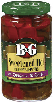 B&G Hot Cherry Sweetened W/Oregano & Garlic Peppers 12 Oz Jar