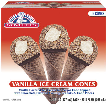 Polar Treats Vanilla Ice Cream Cone 6 Pk