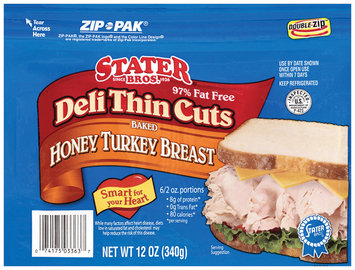 Stater Bros. Baked Honey Deli Thin Cuts Turkey Breast 12 Oz Zip Pak