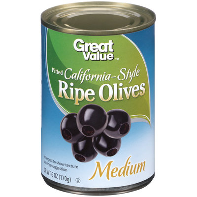 Great Value: Medium Pitted California Ripe Olives, 6 Oz