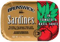 Brunswick In Tomato & Basil Sauce 3.75 Oz Tin Overwrap Sardines