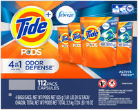 Tide PODS Plus Febreze Odor Defense Laundry Detergent Pacs, Active Fresh Scent, 112 count, Designed For Regular and HE Washers
