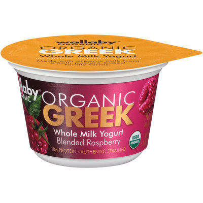 Wallaby® Organic Greek Blended Raspberry Whole Milk Yogurt 5.3 oz. Cup