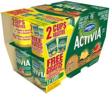 Activia Fiber Lowfat Yogurt Pineapple and Cereal/Strawberry and Cereal 12 Ct Cups