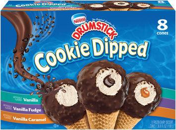 Nestlé DRUMSTICK Cookie Dipped Vanilla/Vanilla Fudge/Vanilla Caramel Frozen Dairy Dessert 8 ct Box