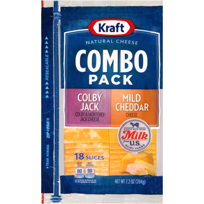 Kraft Natural Cheese Colby Jack/Mild Cheddar Cheese Slices Combo Pack 18 ct ZIP-PAK®