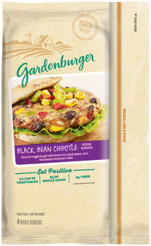 Gardenburger® Black Bean Chipotle Veggie Burgers 4 ct Bag