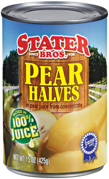 Stater Bros. In Pear Juice from Concentrate Pear Halves 15 Oz Can