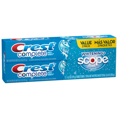 Crest Complete Multi-Benefit Whitening + Scope Cool Peppermint Flavor Toothpaste Twin Pack 12.4 oz. Carton