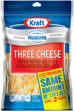 Kraft Natural Cheese Three Cheese W/Touch of Philadelphia Shredded Cheese 8 Oz Peg