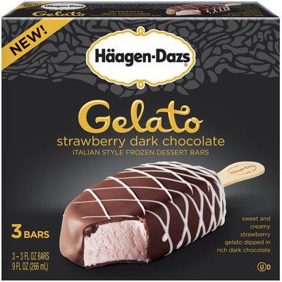 Haagen-Dazs Gelato Strawberry Dark Chocolate Italian Style Frozen Dessert Bars